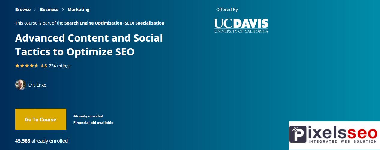 الكورس السيو الرابع في هذا التخصص بعنوان؛ المحتوى المتقدم والتكتيكات الاجتماعية لتحسين SEO
