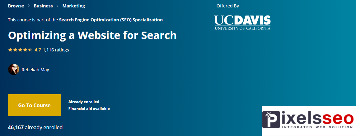 كورس السيو الثالث ضمن تخصص السيو بعنوان؛ تحسين موقع الويب للبحث